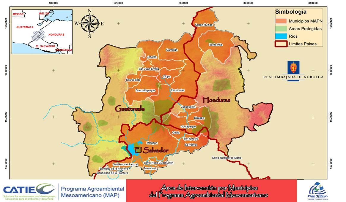 Area de intervención por municipios del programa agroambiental